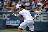 Washington, DC - August 3, 2014: Milos Raonic of Canada sets up to return the ball in the Citi Open final, August 3, 2014. Raonic won in straight sets over fellow Canadian Vasek Pospisil,   (Photo by Don Baxter/Media Images International)