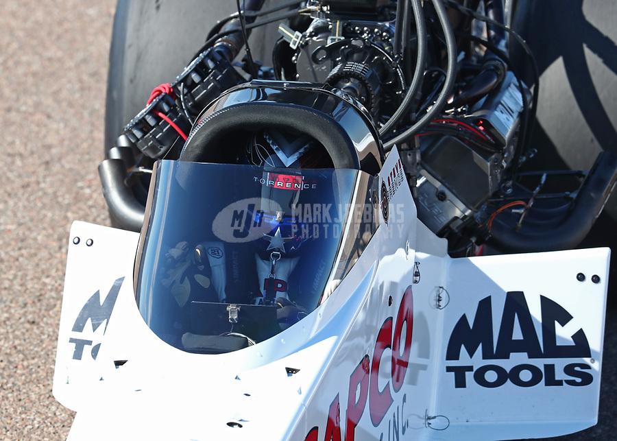 Feb 23, 2019; Chandler, AZ, USA; NHRA top fuel driver Steve Torrence during qualifying for the Arizona Nationals at Wild Horse Pass Motorsports Park. Mandatory Credit: Mark J. Rebilas-USA TODAY Sports