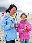 Margaret McGreal and Ciara Geoghegan from The Valley Achill pictured on Keel beach Achill where the Tin Whistle world record attempt took place on saturday last..Pic Conor McKeown