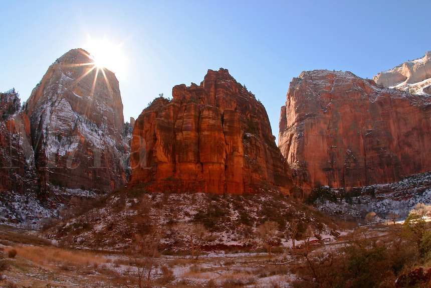Sunrise over Angles Landing, Cable Mountain, and The Organ, Zion National Park, Washington County, U