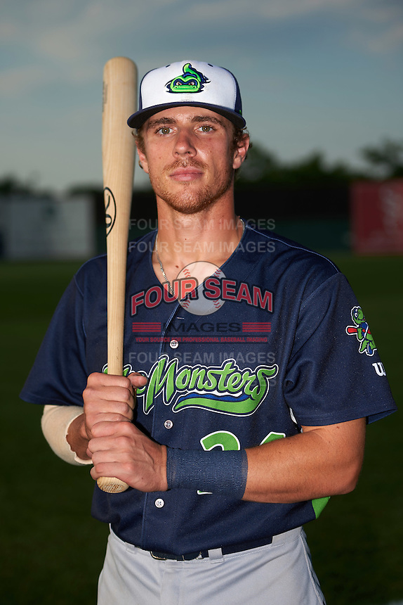 Vermont Lake Monsters catcher Brett Sunde (24) poses for a photo before a game against the Auburn Doubledays on July 12, 2016 at Falcon Park in Auburn, New York.  Auburn defeated Vermont 3-1.  (Mike Janes/Four Seam Images)