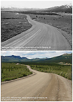 Upper Photo:<br /> Date: September 1962;<br /> Photographer: James Larson; <br /> Description: Denali Park Road at Teklanika Flat, Denali National Park and Preserve, Alaska. <br /> Image Source: DENA Museum Collection (Catalog #DENA-23166); <br /> Lower Photo:<br /> Date: July 5, 2012; <br /> Photographer: Ronald D. Karpilo, Jr; <br /> Description: Denali Park Road at Teklanika Flat, Denali National Park and Preserve, Alaska. <br /> Photo Station ID: 20120705-00014-DENA-Karpilo