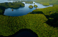 Aerial view of the Rock Islands in the late afternoon Palau, <br /> Micronesia