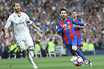 Sergio Ramos of Real Madrid and Leo Messi of FC Barcelona during the match of La Liga between Real Madrid and Futbol Club Barcelona at Santiago Bernabeu Stadium  in Madrid, Spain. April 23, 2017. (ALTERPHOTOS)