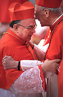 New cardinal Raymundo Damasceno Assis of Brazil (R), who is one of the 24 new cardinals installed by Pope Benedict XVI (not pictured) during the Consistory ceremony in Saint Peter's Basilica at the Vatican, 20 November 2010. Reports state that Pope Benedict XVI installed 24 new Roman Catholic cardinals from around the world on 20 November 2010 in his latest batch of appointments that could include his successor as leader of the 1.2 billion member church.