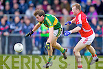 Donnchadh Walsh  Kerry in action against Michael Shields Cork in the McGrath cup final at Mallow on Sunday.