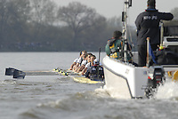 London, GREAT BRITAIN,  Oxford as the crew moves along The Fulham Wasll, during the 2007 Boat Race between Putney to Mortlake, on  Sat. April 7th. England [Photo Peter Spurrier/Intersport Images].OXFORD BLUE BOAT. Bow, Robin Ejsmond-Frey President, Adam Kosmicki, Michal Plotkowiak, Magnus Fleming, Andrew Wright, ], William?Brodie? Buckland, Terence Kooyker, stroke, Ante Kusurin, Cox, Nicholas Brodie Varsity Boat Race, Rowing Course: River Thames, Championship course, Putney to Mortlake 4.25 Miles,
