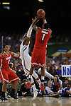 31 MAR 2012: Deshaun Thomas (01) of The Ohio State University puts the ball up against the University of Kansas during the Semifinal Game of the 2012 NCAA Men's Division I Basketball Championship Final Four held at the Mercedes-Benz Superdome hosted by Tulane University in New Orleans, LA. The University of Kansas beat The Ohio State University 64-62. Joshua Duplechian/ NCAA Photos