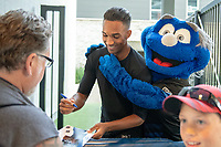 San Jose, CA - Thursday December 31, 2015: Danny Hoesen, Q, fans prior to a Major League Soccer (MLS) match between the San Jose Earthquakes and the Colorado Rapids at Avaya Stadium.