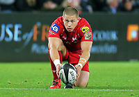 Rhys Jones of the Scarlets prepares to take a kick during the Guinness PRO14 Round 6 match between Ospreys and Scarlets at The Liberty Stadium , Swansea, Wales, UK. Saturday 07 October 2017