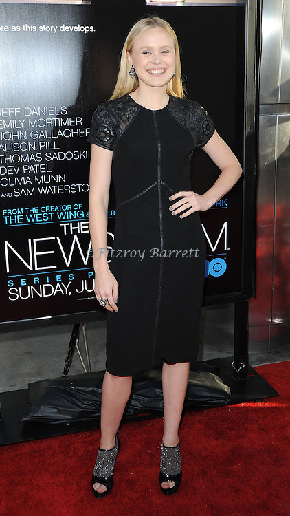 Alison Pill at the Los Angeles premiere of the new HBO series The Newsroom, held at the Cinerama Dome Los Angeles, CA. June 20, 2012
