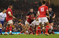 Tonga's Sonatane Takulua whips the ball out <br /> <br /> Photographer Ian Cook/CameraSport<br /> <br /> Under Armour Series Autumn Internationals - Wales v Tonga - Saturday 17th November 2018 - Principality Stadium - Cardiff<br /> <br /> World Copyright © 2018 CameraSport. All rights reserved. 43 Linden Ave. Countesthorpe. Leicester. England. LE8 5PG - Tel: +44 (0) 116 277 4147 - admin@camerasport.com - www.camerasport.com