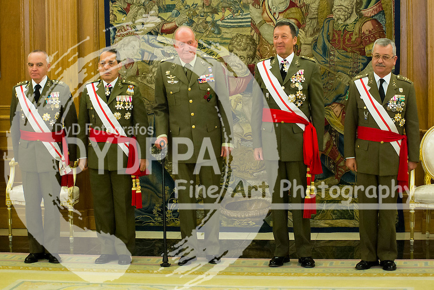 02.07.2013. Zarzuela Palace. Madrid. Spain. King Juan Carlos of Spain attends hearing with a Lieutenant Generals of the Spanish Land Army  Luis Villanueva Barrios, Francisco Puentes Zamora, Alfredo Cardona Torres and Jose Munoz Munoz. In the image: King Juan Carlos of Spain. (C) Ivan L. Naughty / DyD Fotografos
