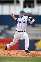 Tampa Tarpons starting pitcher Michael King (14) delivers a pitch during a game against the Lakeland Flying Tigers on April 8, 2018 at George M. Steinbrenner Field in Tampa, Florida.  Lakeland defeated Tampa 3-1.  (Mike Janes/Four Seam Images)