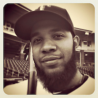 SURPRISE, AZ - FEBRUARY 25:  Instagram of Elvis Andrus of the Texas Rangers posing for a picture on photo day during spring training at Surprise Stadium on February 25, 2014 in Surprise, Arizona. Photo by Brad Mangin