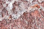 Salt on red rocks at the salt mine, Ounila Valley, Morocco.