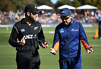 Kane Williamson and Mike Hesson.<br /> New Zealand Blackcaps v England. 5th ODI International one day cricket, Hagley Oval, Christchurch. New Zealand. Saturday 10 March 2018. &copy; Copyright Photo: Andrew Cornaga / www.Photosport.nz