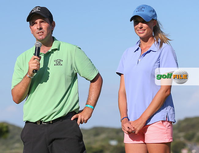 Thomas Aiken (RSA) with caddie wife Kate is Champion Golfer of The Africa Open 2014 at the East London Golf Club, Eastern Cape, South Africa. Picture:  David Lloyd / www.golffile.ie