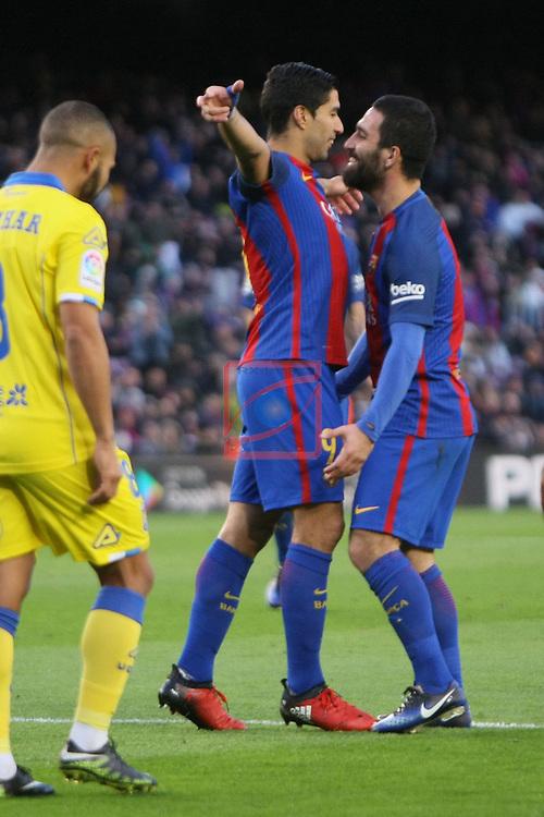 League Santander 2016/2017. Game: 18.<br /> FC Barcelona vs UD Las Palmas: 5-0.<br /> Luis Suarez &amp; Arda Turan.