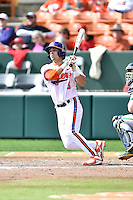 Clemson Tigers second baseman Chase Pinder (5) swings at a pitch during a game against the Notre Dame Fighting Irish during game one of a double headers at Doug Kingsmore Stadium March 14, 2015 in Clemson, South Carolina. The Tigers defeated the Fighting Irish 6-1. (Tony Farlow/Four Seam Images)