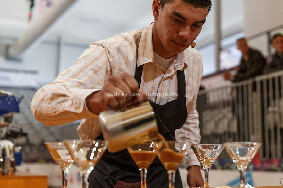 MELBOURNE, AUSTRALIA - MAY 23 Jefferson David Castillo Bermudez from Nicaragua in action on day one of the 2013 World Barista Championship at the Melbourne Showgrounds, Australia. Photo Sydney Low / syd-low.com