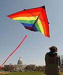 Flying 24 ft. Delta Kite in Washington, D.C. day after Smithsonian Kite Festival.Photo by Tom Williams