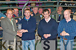 KINGDOM MART: Michael Dillane, Lixnaw whose bull won the Kingdom Co-op Mart Supreme Champion 2008 at Weanling Show and Sale on Tuesday l-r: Philip Healy (Mart Manager), Michael Dillane, Tom Sheehan and Finbarr Kelly (Show Judges).   Copyright Kerry's Eye 2008