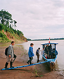 PERU, Amazon Rainforest, South America, Latin America, people getting in boat at Tambopata river