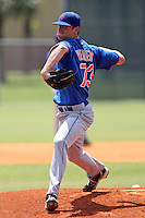 New York Mets pitcher Logan Verrett #73 delivers a pitch during a minor league spring training game against the Miami Marlins at the Roger Dean Sports Complex on March 28, 2012 in Jupiter, Florida.  (Mike Janes/Four Seam Images)