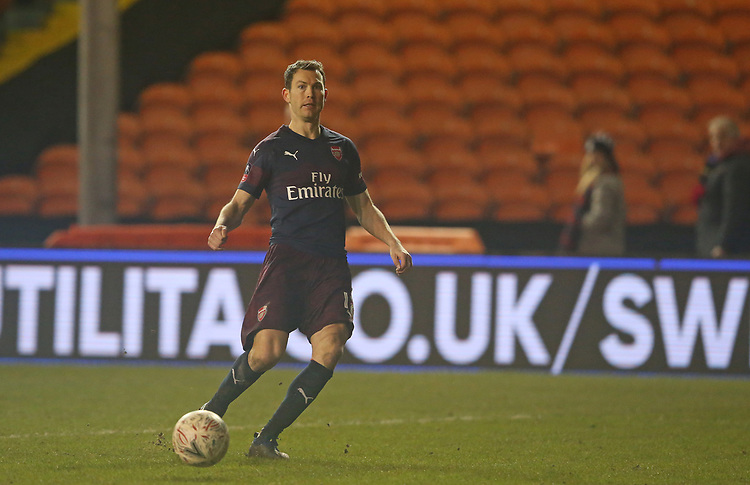 Arsenal's Stephan Lichtsteiner<br /> <br /> Photographer Stephen White/CameraSport<br /> <br /> Emirates FA Cup Third Round - Blackpool v Arsenal - Saturday 5th January 2019 - Bloomfield Road - Blackpool<br />  <br /> World Copyright &copy; 2019 CameraSport. All rights reserved. 43 Linden Ave. Countesthorpe. Leicester. England. LE8 5PG - Tel: +44 (0) 116 277 4147 - admin@camerasport.com - www.camerasport.com