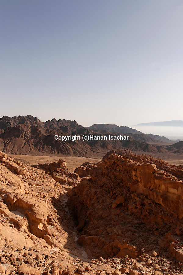 Israel, Eilat Mountains. View of Amram valley from Mount Amir