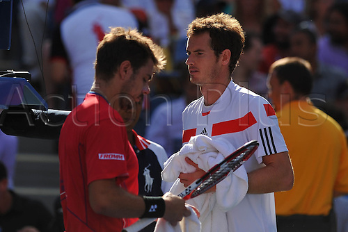 05.09.2013. Flushing Medows, New York, USA. US Open Tennis tournament, Mens singles quarter final. Andy Murray versus Stanislas Wawrinka. Wawrinka won in straight sets to proceeds to the semi-finals.   Stanislas Wawrinka (Sui) vs Andy Murray (GB)