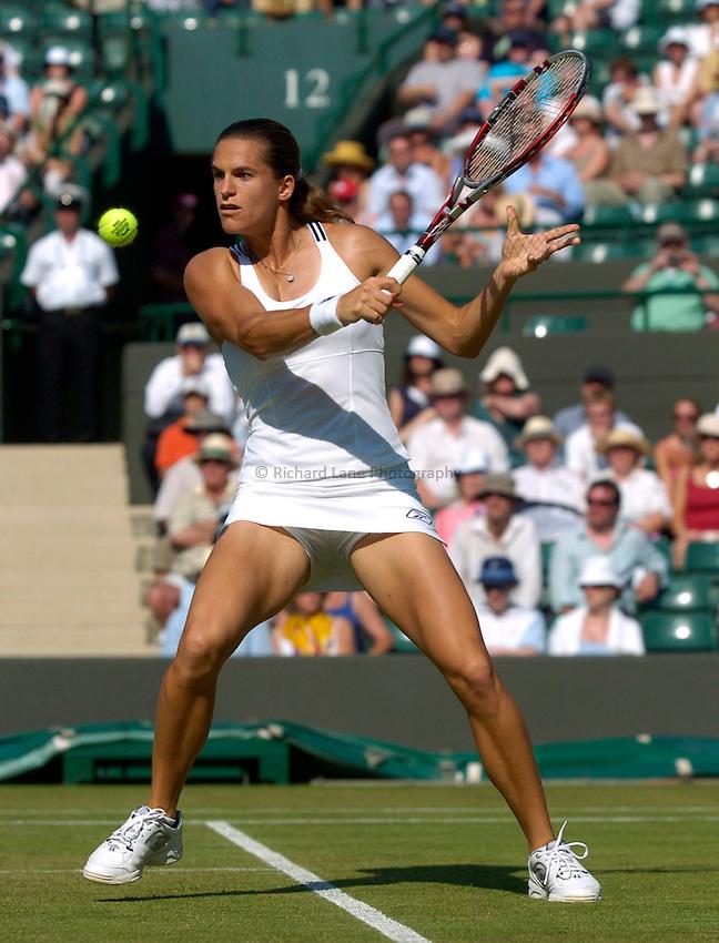 Photo: Richard Lane..Wimbledon Championships. 03/07/2006. .Amelie Mauresmo of France returns.