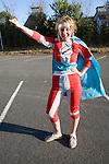 Model released teenager girl dressed as a super hero