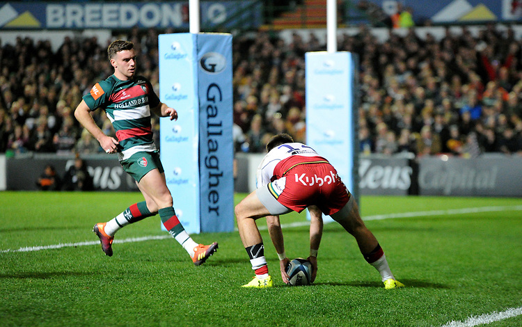 Northampton Saints' Tom Collins scores his side's second try<br /> <br /> Photographer Hannah Fountain/CameraSport<br /> <br /> Gallagher Premiership - Leicester Tigers v Northampton Saints - Friday 22nd March 2019 - Welford Road - Leicester<br /> <br /> World Copyright © 2019 CameraSport. All rights reserved. 43 Linden Ave. Countesthorpe. Leicester. England. LE8 5PG - Tel: +44 (0) 116 277 4147 - admin@camerasport.com - www.camerasport.com