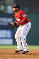 First baseman Aneudis Peralta (28) of the Greenville Drive in a game against the Asheville Tourists on Tuesday, July 1, 2014, at Fluor Field at the West End in Greenville, South Carolina. Asheville won, 5-2. (Tom Priddy/Four Seam Images)