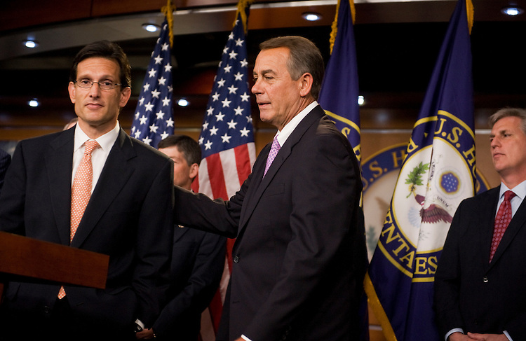 UNITED STATES - JULY 14:  Speaker John Boehner, R-Ohio, right, and House Majority Leader Eric Cantor, R-Va., left, conduct a news conference in the Capitol Visitor Center on the topics of a proposed balanced budget amendment and also the ongoing debt ceiling talks.  (Photo By Tom Williams/Roll Call)