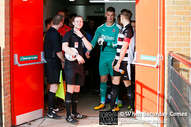 Referee Aaron Bannister prepares to lead the teams out. Darlington 1883 v Southport, National League North, 16th February 2019. The reborn Darlington 1883 share a ground with the town's Rugby Union club. <br />