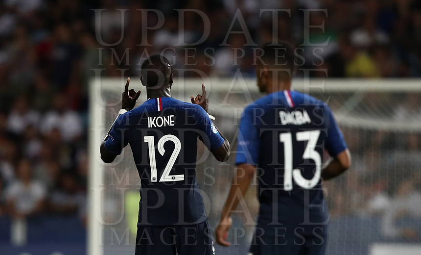 Football: Uefa under 21 Championship 2019, England - France, Dino Manuzzi stadium Cesena Italy on June18, 2019.<br /> France's Jonathan Ikoné (l) celebrates after scoring during the Uefa under 21 Championship 2019 football match between England and France at Dino Manuzzi stadium in Cesena, Italy on June18, 2019.<br /> UPDATE IMAGES PRESS/Isabella Bonotto