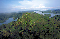 Panama Canal snakes through the rainforest in this aerial view made near Gatun Lake. Panama.