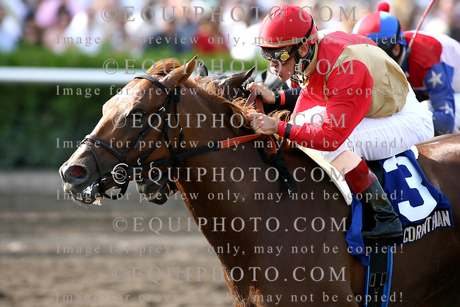 Corinthian #3 with Javier Castellano riding won the $350,000 Gulfstream Park Handicap at Gulfstream Park in Hallandale, Florida on Saturday March 3, 2007. Second was #1 Hesanoldsalt with Rafael Bejarano.  Photo By Bill Denver/EQUI-PHOTO.