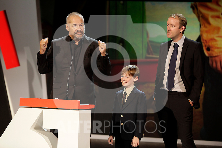 Jean Pierre Jeunet, Kyle Catlet, Reif Larsen present their new film in the closing ceremony during the 61st San Sebastian Film Festival in the Northern Spanish Basque city of San Sebastian on September 27, 2013. (ALTERPHOTOS/Victor Blanco)