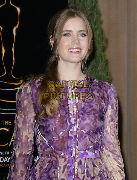 Amy Adams.85th Academy Awards Nominees Luncheon held at the Beverly Hilton Hotel, Beverly Hills, California, USA..February 4th, 2013.oscars half length pink purple sheer dress brown pattern print .CAP/ADM.©AdMedia/Capital Pictures.