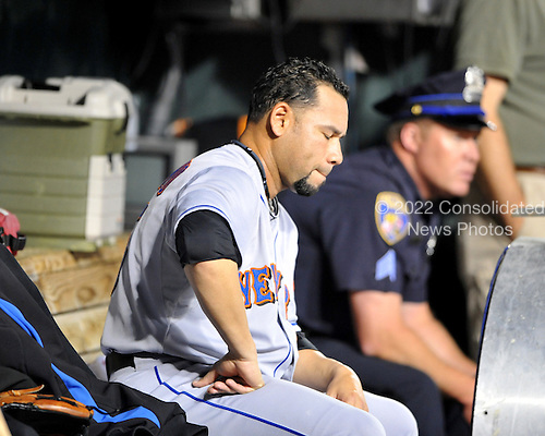 Baltimore, MD - June 18, 2009 -- New York Mets pitcher Pedro Feliciano (25) thinks about his pitching as he sits in the dugout after being replaced in the eighth inning against the Baltimore Orioles at Orioles Park at Camden Yards in Baltimore, Maryland on Thursday, June 18, 2009.  The Orioles won the game 5 - 4..Credit: Ron Sachs / CNP.(RESTRICTION: NO New York or New Jersey Newspapers or newspapers within a 75 mile radius of New York City)