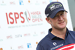 Ryder Cup rookie Jamie Donaldson (WAL) speaking to the press before the start of the ISPS Handa Wales Open.<br /> Celtic Manor Resort<br /> 17.09.14<br /> &copy;Steve Pope-SPORTINGWALES