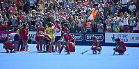 Spain heart broken as they loose out on a place in the finals<br /> <br /> Photographer Hannah Fountain/CameraSport<br /> <br /> Vitality Hockey Women's World Cup - Ireland v Spain - Saturday 4th August 2018 - Lee Valley Hockey and Tennis Centre - Stratford<br /> <br /> World Copyright &copy; 2018 CameraSport. All rights reserved. 43 Linden Ave. Countesthorpe. Leicester. England. LE8 5PG - Tel: +44 (0) 116 277 4147 - admin@camerasport.com - www.camerasport.com