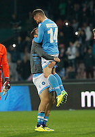 Gonzalo Higuain   Dries Mertens celebrate at the  end  the Italian Serie A soccer match between SSC Napoli and Juventus FC   at San Paolo stadium in Naples, March 30 , 2014