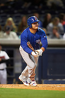 Iowa Cubs first baseman Dan Vogelbach (20) at bat during a game against the Nashville Sounds on May 3, 2016 at First Tennessee Park in Nashville, Tennessee.  Iowa defeated Nashville 2-1.  (Mike Janes/Four Seam Images)