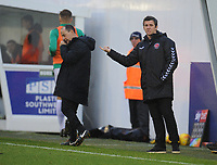 Fleetwood Town manager Joey Barton shouts instructions to his team from the dug-out <br /> <br /> Photographer Kevin Barnes/CameraSport<br /> <br /> The EFL Sky Bet League One - Plymouth Argyle v Fleetwood Town - Saturday 24th November 2018 - Home Park - Plymouth<br /> <br /> World Copyright © 2018 CameraSport. All rights reserved. 43 Linden Ave. Countesthorpe. Leicester. England. LE8 5PG - Tel: +44 (0) 116 277 4147 - admin@camerasport.com - www.camerasport.com