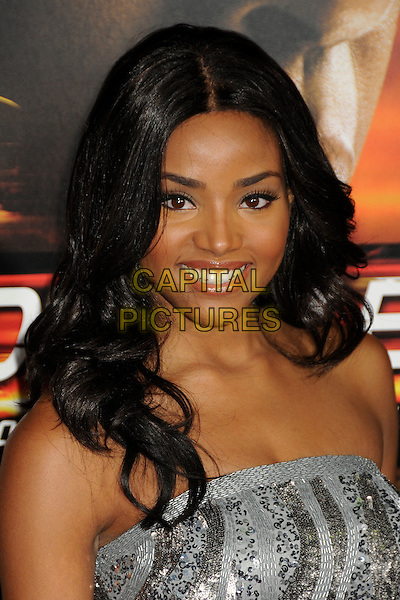 """MEAGAN TANDY.""""Unstoppable"""" Los Angeles Premiere held at the Regency Village Theatre, Westwood, California, USA..October 26th, 2010.headshot portrait strapless silver sequined sequin beaded smiling .CAP/ADM/BP.©Byron Purvis/AdMedia/Capital Pictures."""